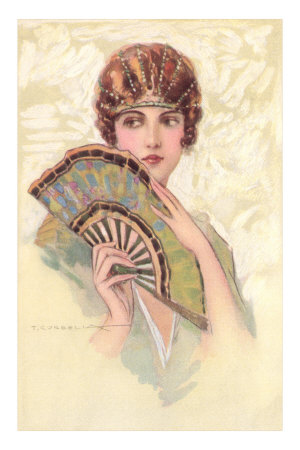 Woman Portrait with Fan Premium Poster