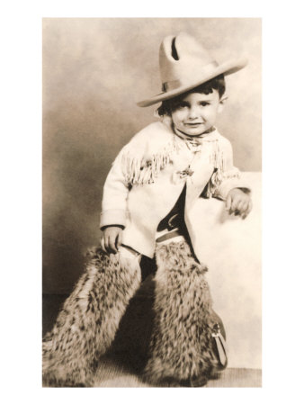 Little Boy in Cowboy Outfit Posters