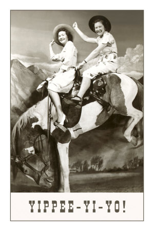 Yippee-Yi-Yo, Women on Bucking Horse Premium Poster