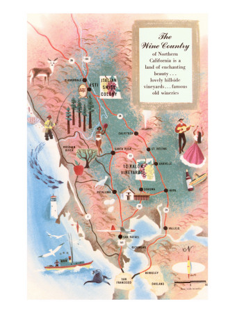 Map of California Wine Country Posters