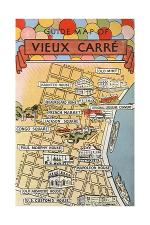 Map of Vieux Carre, New Orleans, Louisiana Premium Poster