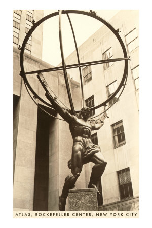 Atlas Statue, Rockefeller Center,  New York City Premium Poster