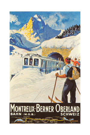 Montreux Ski Poster Premium Poster