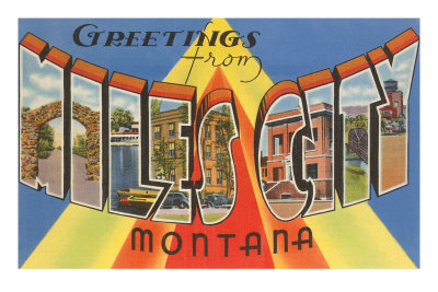 Greetings from Miles City, Montana Premium Poster