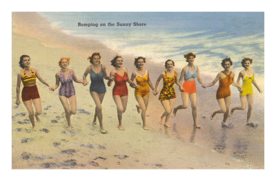 Women Running on Beach Premium Poster