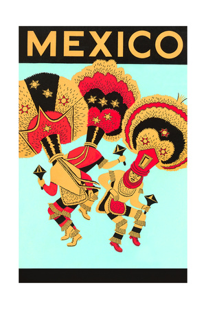 Mexico: 3 Male Dancers with Headdresses Premium Poster