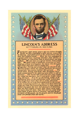 Lincoln with Text of Gettysburg Address Art Print