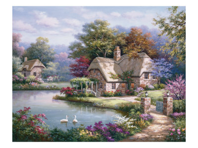 Swan Cottage I Giclee Print
