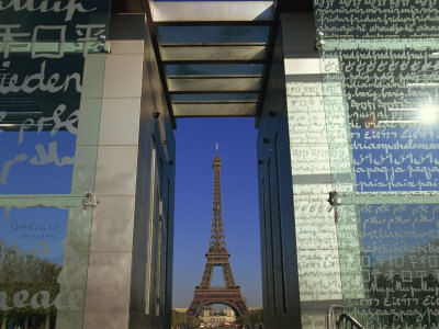 Le Mur Pour La Paix and the Eiffel Tower, Parc Du Champ De Mar, Paris, France Photographic Print by Neale Clarke
