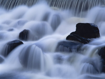 Close-Up of Waterfall, Water Cascading over Rocks in the Highlands of Scotland, United Kingdom Photographic Print by Kathy Collins