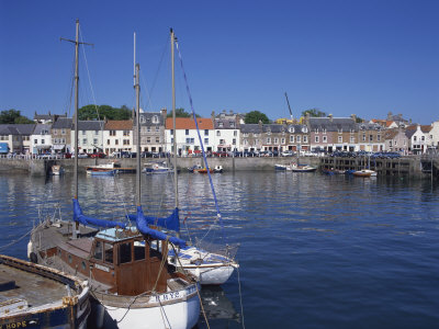Boats on Water and Waterfront at Neuk of Fife, Anstruther, Scotland, United Kingdom, Europe Photographic Print by Kathy Collins