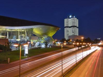 Bmw Welt and Headquarters Illuminated at Night, Munich, Bavaria, Germany, Europe Photographic Print by Gary Cook