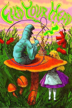 Alice in Wonderland psychedelic trippy poster feed your head