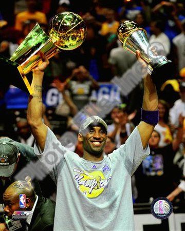 Kobe Bryant Game 5 - 2009 NBA Finals With MVP & Championship Trophies Photo