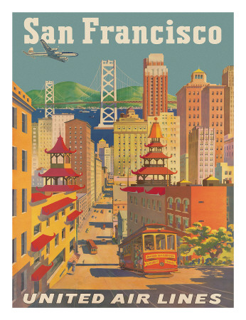 United Airlines San Francisco c.1950 Gicleetryck