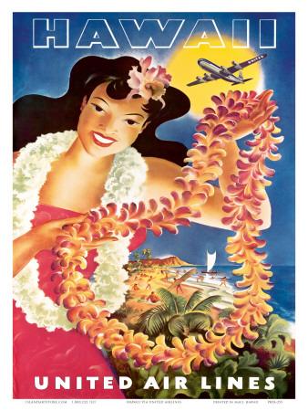 Hawaii, United Air Lines, Hawaiian Girl with Leis, c.1949 Prints by  Feher
