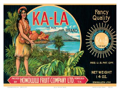 Ka-La The Sun Brand, Pineapple Label, Honolulu Fruit Company, c.1940 Posters