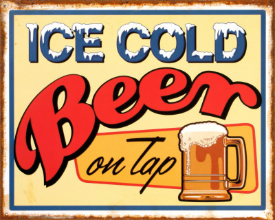 Ice Cold Beer Tin Sign