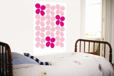 Pink Flowers Wall Mural by  Avalisa