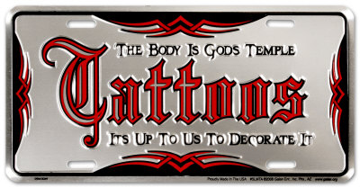 Tattoo Auto Tag Tin Sign