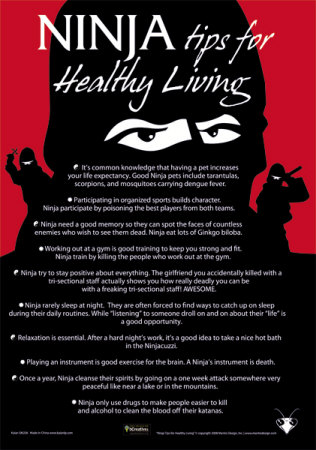Ninja Tips for Healthy Living Tin Sign