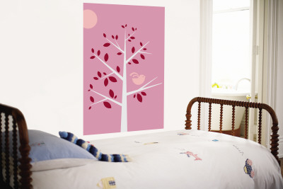 Pink Songbird Wall Mural