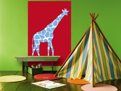 Red Giraffe Mural