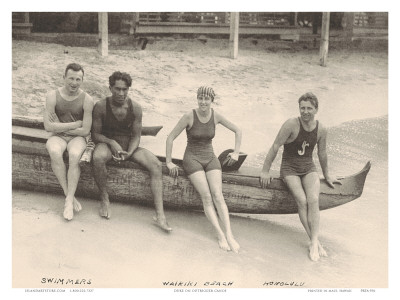 Duke Kahanamoku and Friends on Waikiki Beach, Honolulu, Hawaii Reproduction d'art