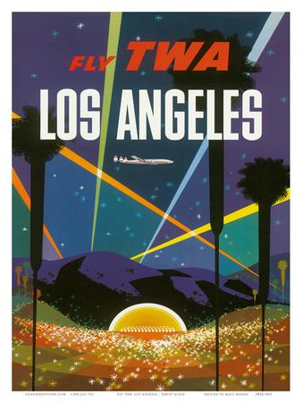 Fly TWA Los Angeles, Hollywood Bowl, c.1958 Prints by David Klein