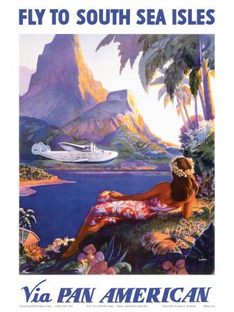 Fly to the South Seas Isles, via Pan American Airways, c.1940s Posters af Paul George Lawler