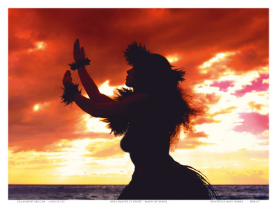 Hula Dancer Silhouette at Sunset Kunstdruck