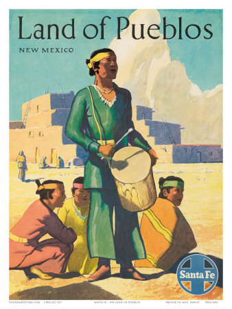 Santa Fe Railroad, Land of Pueblos, Native American Indians, New Mexico, 1950s Posters