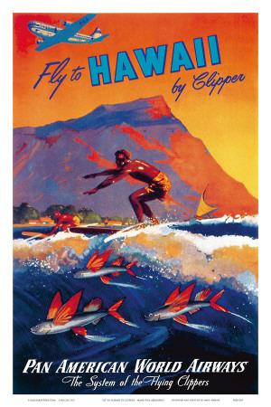 Fly To Hawaii by Clipper, Pan American World Airways c.1940s Prints by M. Von Arenburg