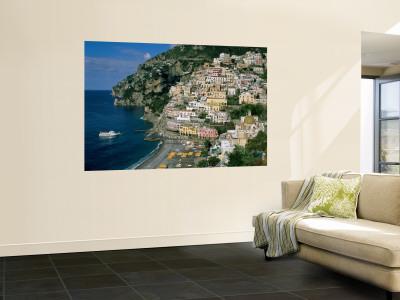 Amalfi Coast, Coastal View and Village, Positano, Campania, Italy Wall Mural by Steve Vidler