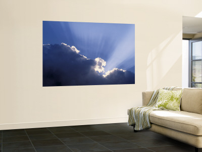 Sun Rays Through Clouds Wall Mural by Jon Arnold