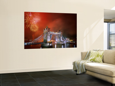 Tower Bridge and Fireworks, London, England Mural
