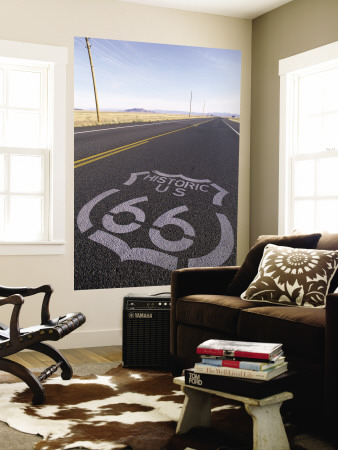 Historic Route 66 Sign on Highway, Seligman, Arizona, USA Wall Mural