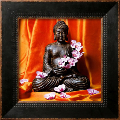 Buddha with Flowers Poster by Stephane De Bourgies