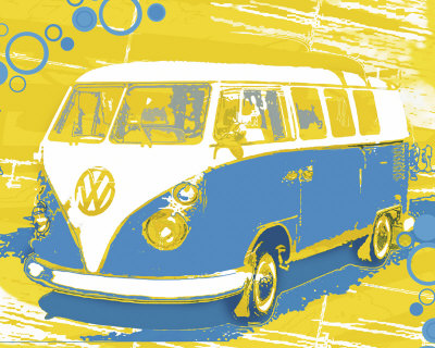 Vintage VW Bus Reproduction d'art
