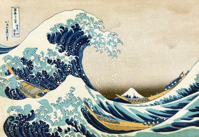 Kanagawa'da Büyük Dalga (Fuji dağının 36 görünümünden), c.1829 Sanatsal Reprodüksiyon