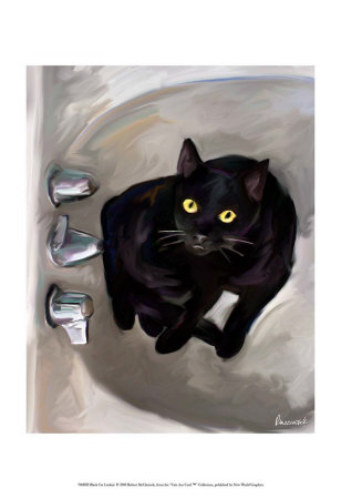 Black Cat Lookin' Reproduction d'art