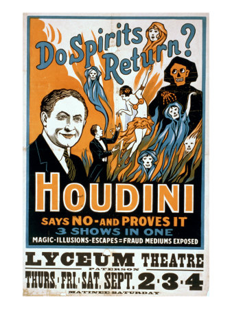 Houdini, Poster Art for Magic Show by Harry Houdini, 1909 Photo