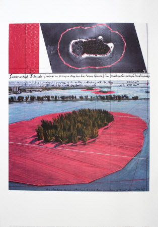 Surrounded Islands, Project for Biscane Bay, Greater Miami, Collage in Two Parts Samlertryk af  Christo