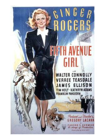 Fifth Avenue Girl, Ginger Rogers, 1939 Photo