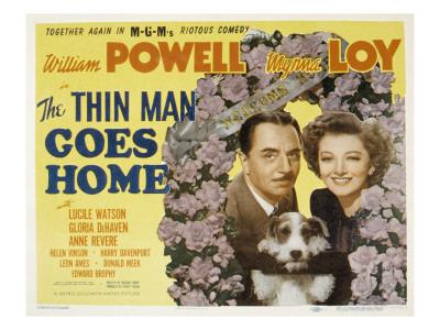 The Thin Man Goes Home, William Powell, Asta the Dog, Myrna Loy, 1944 Photo