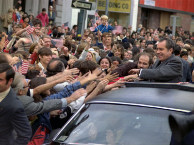 President Richard M. Nixon's Motorcade Being Swarmed by People During a Campaign Event, 1972 Photo