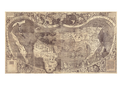 1507 World Map Incorporating Columbus' Discovery of New Lands, Using the Name, America Photo