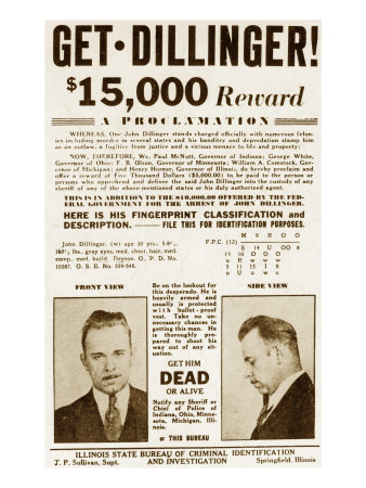 Wanted Poster for John Dillinger, Offering $15,000 for His Capture. 1934 Photo