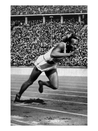 Jesse Owens Setting the 200 Meter Olympic Record at the Olympics in Berlin, Germany, 1936 Premium Poster
