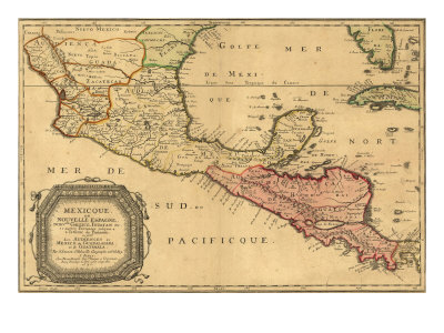 1656 Map of Central America and Mexico, Showing Many Modern Place Names and Boundaries Photo